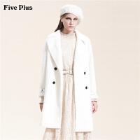 Five Plus女装双排扣毛呢外套女中长款呢子大衣西装翻领长袖