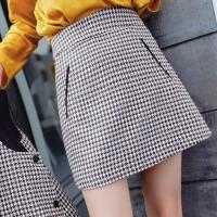 七格格格子半身裙女2017秋季新款韩版高腰百搭学生复古包臀A字短裙子潮