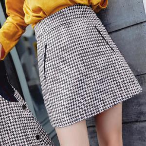 【限时秒杀价76.8】七格格格子半身裙女2017秋季新款韩版高腰百搭学生复古包臀A字短裙子潮