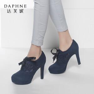达芙妮女鞋 秋季新款女鞋韩版潮时尚水钻高跟鞋女单鞋