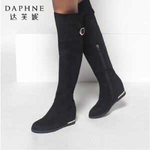 达芙妮冬季新品女靴时尚优雅皮带扣高跟鞋侧拉链粗跟长靴高筒靴