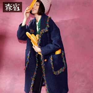 森宿B咖啡店冬装女文艺Polo领呢子外套民族风流苏毛呢大衣女长款