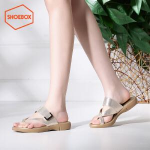 达芙妮旗下SHOEBOX/鞋柜女鞋休闲平底凉鞋时尚套趾凉拖鞋