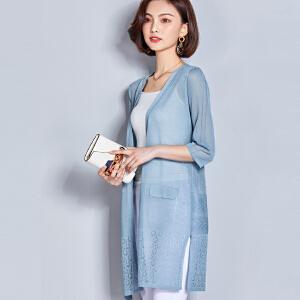 AGECENTRE 2018夏季新款针织外套女中长款薄款防晒空调衣女外搭披肩显瘦开衫