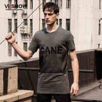 viishow夏装新款短袖T恤 欧美街头中长款短袖 字母印花t恤潮