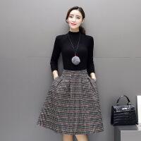 2017秋季新款时尚韩版显瘦圆领打底毛衣格子短裙两件套21686 P120 图片色