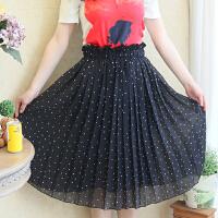 女装妈妈装200斤韩版甜美波点百褶松紧腰显瘦雪纺半身裙