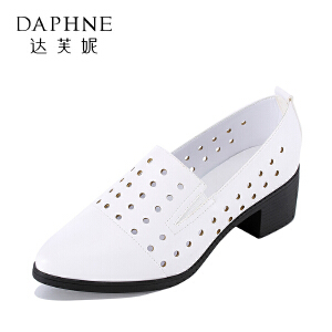 【达芙妮集团大促 限时2件2折】Daphne/达芙妮 旗下女鞋季上新休闲时尚中跟方根镂空女单鞋