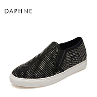 Daphne/达芙妮乐福鞋女水钻女单鞋 圆头套脚平底懒人鞋