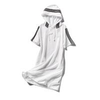 【秒杀价32元】唐狮春夏装新款女装宽松条纹短袖针织连衣裙ins超火Z