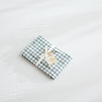 水洗棉枕套一对 良品无印纯棉日式全棉纯色素色格子48*74cm 48cmX74cm