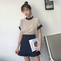 韩版时尚休闲套装夏装女装撞色雪纺T恤薄款打底上衣+半身裙两件套