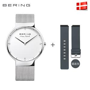 Bering白令手表男士进口石英表防水简约时尚休闲男表潮流硅胶钢带