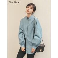 复古长袖衬衫2019秋季新款女宽松显瘦百搭韩版学生洋气中长款上衣