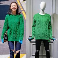 冬季新款明星高圆圆同款绿色毛球侧拉链麻花宽松套头毛衣女 绿色毛球毛衣