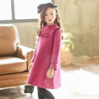 韩版童装冬装新款女童加绒加厚高领连衣裙中大儿童花边休闲裙子