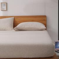 无印天竺棉床笠单件 良品针织棉床单1.5m1.8米床垫套床罩 米白色 (天竺棉)