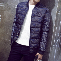 2017韩版新款冬装男士棉衣潮男修身短款立领迷彩棉服青年休闲外套