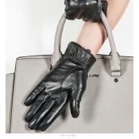 时尚女士真皮手套加绒保暖女士触摸屏羊皮手套骑开车皮手套 可礼品卡支付