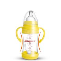 新款 婴儿防摔玻璃奶瓶 宽口径240ML带手柄吸管奶瓶g7t