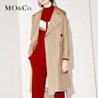 MOCO秋冬中长款过膝翻领风衣女纯色收腰外套MA171TRC108摩安珂