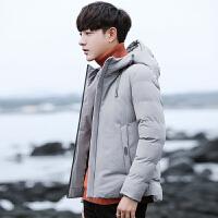 棉衣男冬季韩版潮流羽绒棉外套青少年学生纯色简约连帽短款棉袄子
