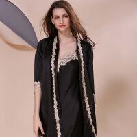 新款性感两件套丝绸睡衣女夏季长袖加大码睡裙纯色睡袍内衣家居服