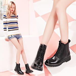 毅雅女鞋新款秋冬季短靴马丁靴女英伦风粗跟加绒雪地棉鞋学生 10YM6PR62680335