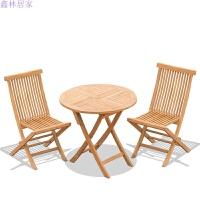 户外休闲阳台折叠三件套柚木桌椅庭院酒吧咖啡椅实木小茶几