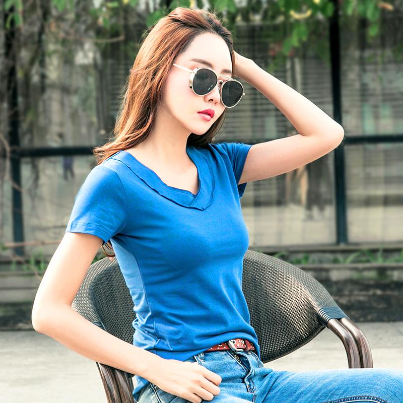 夏季新款纯色V领显瘦短袖t恤女韩范棉质半袖打底衫女款上衣服潮