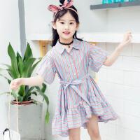 童装女童夏装2018新款女孩连衣裙中大童条纹洋气衬衫裙潮衣公主裙