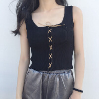 夏装2018新款吊带背心女修身显瘦针织系带短款上衣外穿内搭打底衫 均码