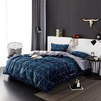 当当优品暖绒四件套 抗静电加厚细密保暖床品 双人1.5米床 湖蓝