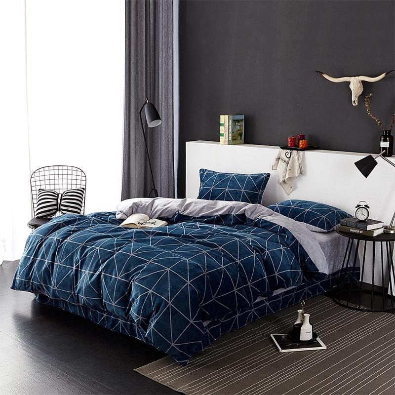 当当优品暖绒四件套 抗静电加厚细密保暖床品 双人1.5米床 湖蓝当当自营 MUJI制造商