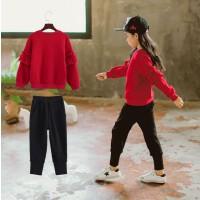 韩国童装冬季女童加绒加厚套装韩版冬装洋气中大童运动套