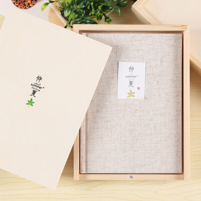 初品A5仲夏彩页木盒装记事本小清新礼品日记本96张创意布面笔记本