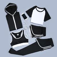 春夏瑜伽服套装女运动跑步服速干显瘦四五件套健身服修身背心长裤