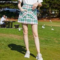 森马半身裙女2019夏季新款复古格纹青春女装学院风拼色A型半裙