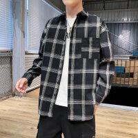 长袖格子衬衫男秋装新款潮流青少年学生休闲衬衣男生寸衣潮款