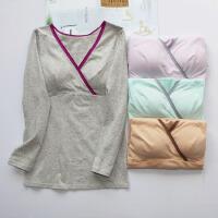 女士纯棉哺乳衣 交叉式喂奶服 长袖弹力V领T恤 家居服孕妇装