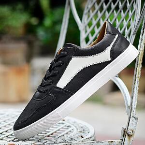 男鞋休闲鞋板鞋低帮皮面平底鞋运动鞋时尚轻便复古滑板鞋
