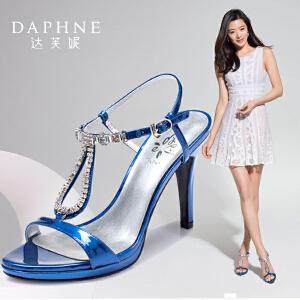 Daphne/达芙妮 夏  超高跟水钻一字扣露趾女凉鞋