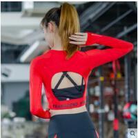 韩国个性字母露背短款美背罩衫弹力运动跑步长袖上衣女瑜伽服健身T恤