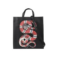 【网易考拉】GUCCI 古驰 男士蛇形印花单肩包手提购物袋 黑色