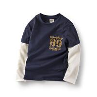 男童t恤长袖童装儿童打底衫秋季中大童假2件体恤上衣