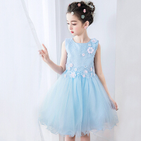 儿童礼服婚纱裙演出服生日宴会裙蓝色女童春装新款