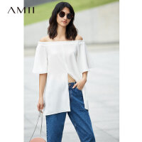 Amii2018夏装新款宽松一字领开衩绑带雪纺衫.