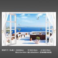 立体墙贴壁画贴纸壁纸自粘墙纸阳台美景风景窗户海景客厅背景定制 超