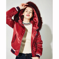 红袖宽松休闲大毛领夹克衫短款棉衣棉服外套女