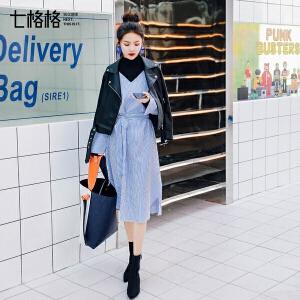 七格格韩版小清新连衣裙2018新款女春装假两件套打底原宿中长裙子七格格